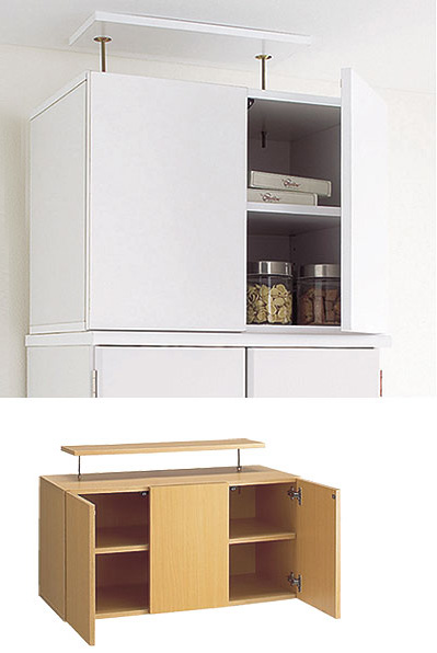 食器棚上のデッドスペースに合わせてセットできる収納庫