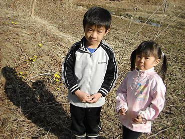 子供たちと福寿草