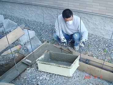 オシャレなガーデンウォール製作 工程1~寒冷地対応の基礎を作る~基礎コンクリート流し込み